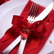 Romantic Dinner. Table place setting for Valentine's Day — Stock Photo #10677160