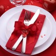 Romantic Dinner. Table place setting for Valentine's Day — Lizenzfreies Foto