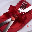 Romantic Dinner. Place setting for Valentine's Day — Stock Photo