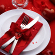 Romantic Dinner. Table place setting for Valentine's Day — Stockfoto