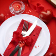 Romantic Dinner. Place setting for Valentine's Day — 图库照片