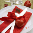 Stock Photo: Romantic Dinner. Table place setting for Valentine's Day