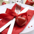 Romantic Dinner. Place setting for Valentine's Day - Lizenzfreies Foto