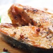 Grilled Salmon Closeup - Stock Photo