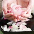 Royalty-Free Stock Photo: Beautiful Female Hands And Rose Petals