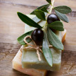 Natural Handmade Soap and Olives — Stock Photo