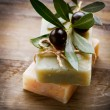 Natural Handmade Soap and Olives — ストック写真