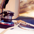 Yacht Sailing against sunset.Sailboat.Travel - Stock Photo