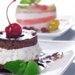 Cherry Cake With Chocolate Cream — Stock Photo #10678326