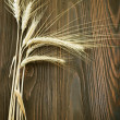 Wheat Border Over Wooden Background - Stock Photo