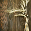 Wheat Border Over Wooden Background — Stock Photo