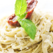 Italian Pasta With Pesto Sauce, Dried Tomato, Olives, Basil And — Stock Photo