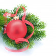 Christmas and New Year Decoration over white - Stockfoto