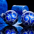 Christmas Baubles isolated on Black — 图库照片