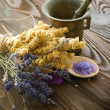 Stock Photo: Herbs And Antique Mortar With Pestle