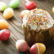 Colorful Easter Eggs And Cake — Stock Photo #10678863