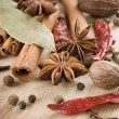 Stock Photo: Various Spices Background