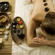 Spa Woman. Hot Stones Massage — Stock Photo