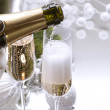 New Year Card Design with Champagne — Stock Photo #10679894