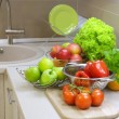 Fresh Raw Vegetables on the kitchen table.Diet — Stock Photo