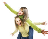 Teenage Girls Having Fun.Friends.Emotions — Stock Photo