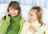 Teenage Girls Talking on Cell Phone — Stock Photo