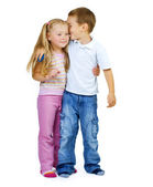 Kids.Little Boy and girl full-lenght portrait — Stock Photo