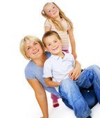 Healthy Mother with kids having fun .Happy Family — Stock Photo