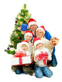 Christmas Family isolated on white — Stock Photo