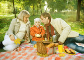Happy Family in a Park. Picnic — Stok fotoğraf