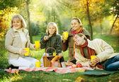 Happy Family in a Park. Picnic — Stock Photo