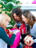 Christmas Party. Friends with Christmas Gifts — Zdjęcie stockowe