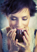Beauty Girl With Cup of Coffee — Foto de Stock