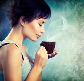 Beauty Girl With Cup of Coffee — Photo