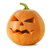 Halloween Pumpkin. Scary Jack O'Lantern isolated on white — Stock Photo