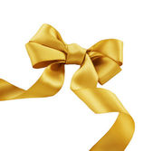Bow. Golden satin gift bow. Ribbon. Isolated on white — Stock Photo
