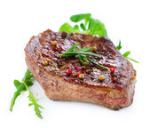 Grilled Beef Steak Isolated On a White Background — Stockfoto