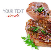 Grilled Beef Steak Isolated On a White Background — Stok fotoğraf