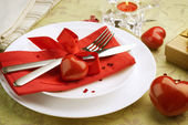 Romantic Dinner. Table place setting for Valentine's Day — Stock Photo