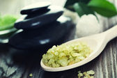 Spa Treatment. Scented Bath Salt And Stones — Stock Photo