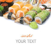 Different Sushi And Rolls Border — Stock Photo