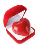Red velvet Gift Box with a heart on a white background. — Stock Photo
