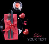 Romantic Dinner. Table place setting over black — ストック写真
