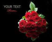 Velké růže kytice izolované na černém pozadí — Stock fotografie