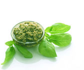 Pesto Sauce And Fresh Basil Over White — Stock Photo
