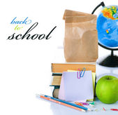 Back To School Concept. School Books And Green Apple Isolated On — Stock Photo