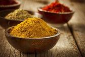 Spezie zafferano, curcuma, curry — Foto Stock