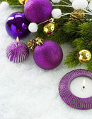 Christmas Violet Decorations — Stock Photo