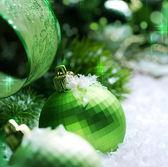 Christmas Decoration with Snow — Стоковое фото