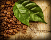 Coffee Beans over Wood Background — 图库照片